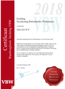 Certificaten Waarborgfonds 2018